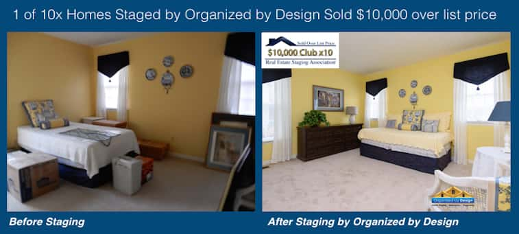 Organized by Design Before and After Staged and Sold $10K Over List Price