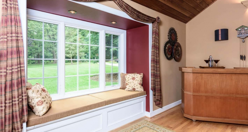 Organized by Design Family Room Makeover Redesign Bump-out Bay Window