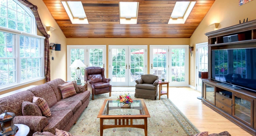 Organized by Design Family Room Redesign installed cedar plank ceiling