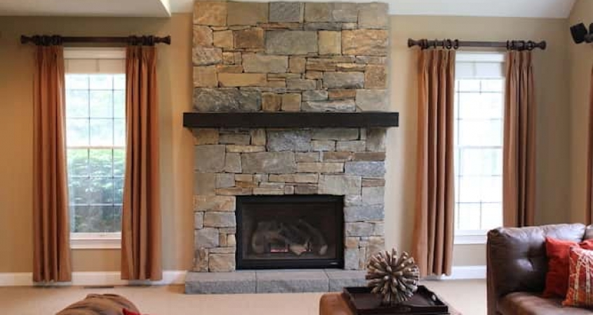 Organized by Design Family Room Renovation Stacked Stone Fireplace