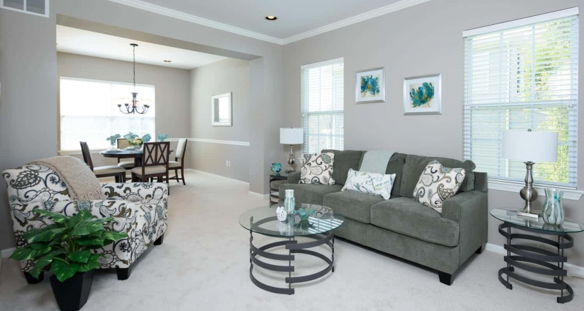 Organized by Design Vacant Home Staging of Living Room and Dining Room with Furniture and Accessories