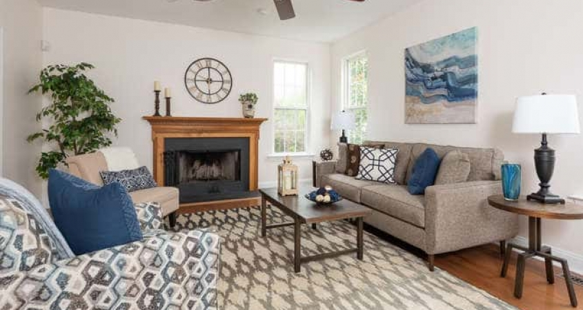Vacant Home Staging Family Room with furniture and accessories by Organized by Design