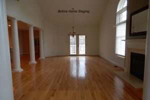 Before Home Staging Living Room and Dining Room