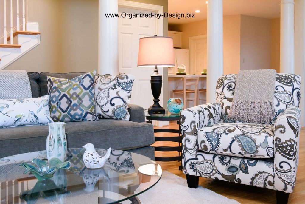 Living Room close up staged with furniture and accessories by Organized by Design
